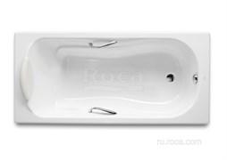 Ванна чугунная Roca Haiti 150x80 с отверстиями для ручек, anti-slip 2332G000R