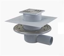 ALCA PLAST Сливной трап, 105х105/50 мм, боковая подводка, решетка и фланец из нерж.стали , воротник-2-х уров. изоляция