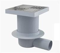 ALCA PLAST Сливной трап, 150х150/50 мм, боковая подводка, решетка из нержавеющей стали , гидрозатвор мокрый
