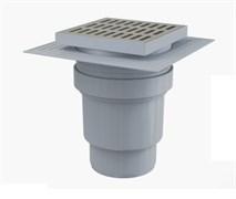 ALCA PLAST Сливной трап, 150х150/110 мм, прямая подводка, решетка из нержавеющей стали , гидрозатвор мокрый