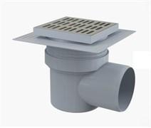 ALCA PLAST Сливной трап, 150х150/110 мм, боковая подводка, решетка из нерж.стали, воротник-2-х уров. из , гидрозатвор мокрый