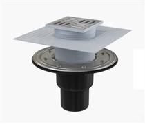 ALCA PLAST Сливной трап, 105х105/50/75 мм, прямая подводка, решетка и фланец из нерж.стали , воротник-2-х уров. изоляция, гидрозатвор-сухой