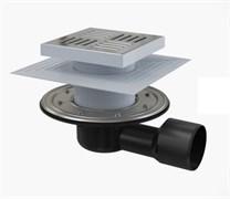 ALCA PLAST Сливной трап, 150х150/50/75 мм, боковая подводка, решетка и фланец из нерж.стали , воротник-2-х уров. изоляция, гидрозатвор-сухой