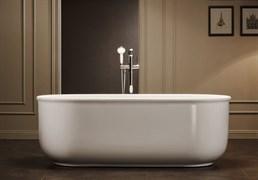 BELBAGNO BB401 Ванна акриловая отельностоящая овальная в комплекте со сливом-переливом цвета хром