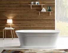 BELBAGNO BB402 Ванна акриловая отельностоящая овальная в комплекте со сливом-переливом цвета хром