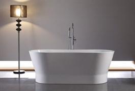 BELBAGNO BB406 Ванна акриловая отельностоящая овальная в комплекте со сливом-переливом цвета хром