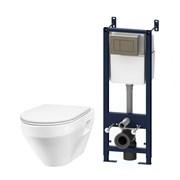 AM.PM Комплект инсталляция с клав глянц хром с подвесным унитазом Spirit с сид-ем м/лифт