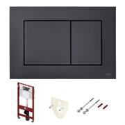 Комплект для установки подвесного унитаза: застенный модуль, пластиковая панель смыва TECEnow, черная матовая