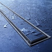 """Комплект TECElinus для монтажа дренажного канала с основой для плитки """"tile"""" и панелью """"steel"""" 2 в 1, 700мм"""